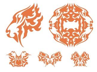Flaming tiger symbols