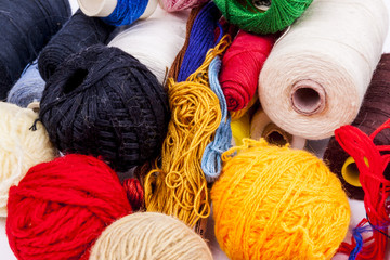 Threads and wool - white background
