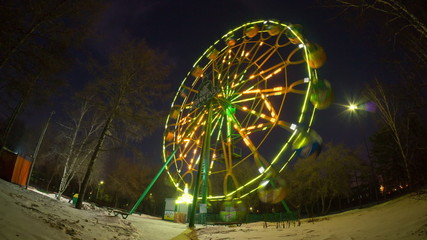 ferris wheel in park of culture, krasnoyarsk, time lapse