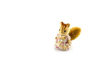 Squirrel toy wear pink dress