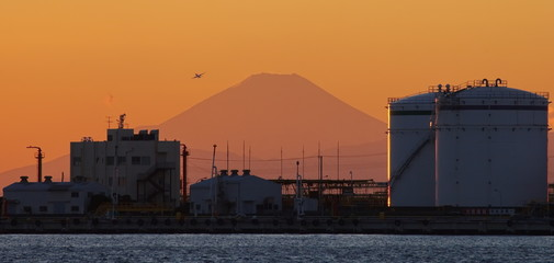 Beautiful Japan industry zone with Mountain Fuji at sunset time