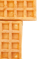 Delicious sweet waffle isolated on a white background