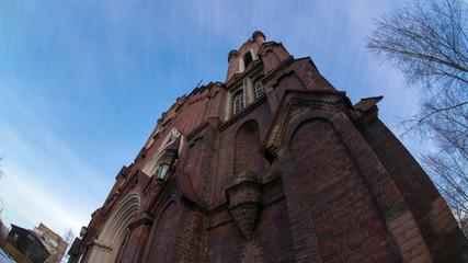 the catholic cathedral in krasnoyarsk, time lapse