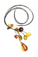 Luxury and fashion amber bijouterie isolated on the white