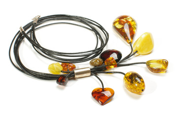 Fashion amber necklace isolated on the white background