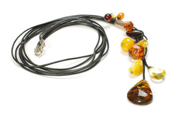 Modern amber necklace isolated on the white background