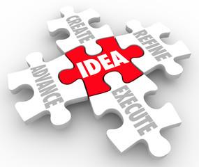 Idea Create Advance Refine Execute Strategy Plan Puzzle Pieces