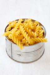 Italian Macaroni Pasta raw food on wood table