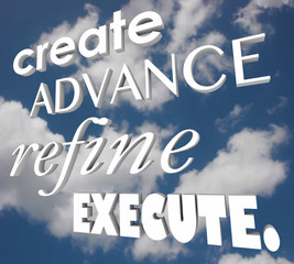 Create Advance Refine Execute 3d Words Strategy Plan