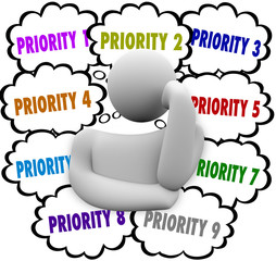 Priority Thought Clouds Ordering Most Important Jobs Tasks