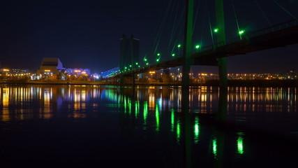 suspension bridge in krasnoyarsk, night time lapse