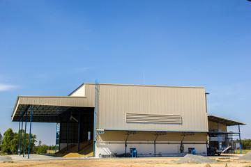 Rice granary, sky, blue, building, paddy.