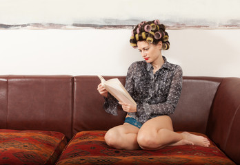 portrait of a model with a book