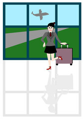 Businesswoman traveling, Vector cartoon concept