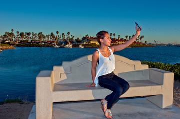 Marina background for smartphone selfie