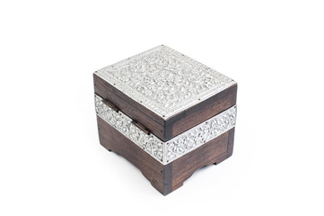 Wooden box decorate by silver