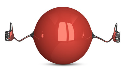 Red sphere character giving thumbs up
