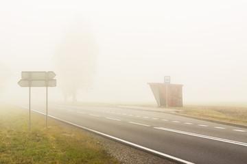 Autumn foggy day - Poland.