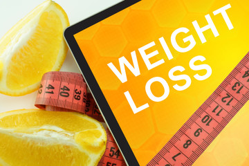Tablet with words weight loss
