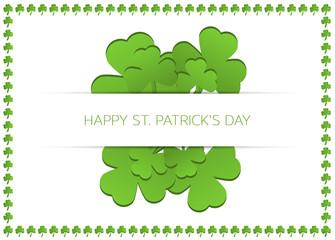Happy St. Patrick's day card with shamrocks