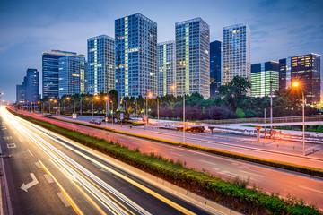 Beijing, China Highway and Skyline of the CBD