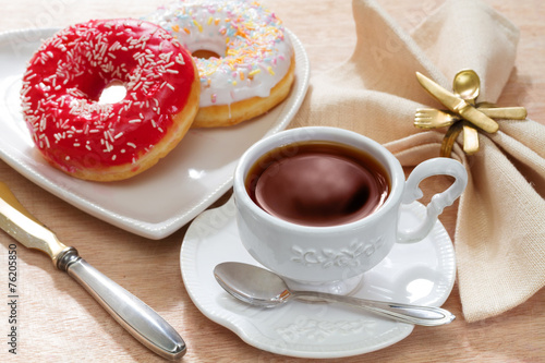 canvas print picture Hot tea with delicious doughnut