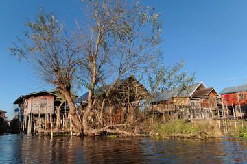Végétation et village du Lac Inle