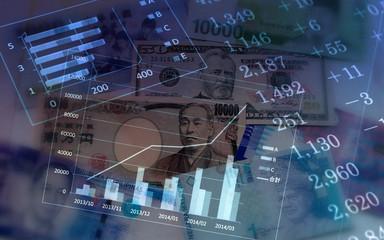 経済イメージ 紙幣とグラフ