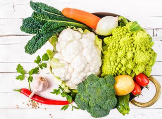 Vegetables on white wood background.Veg food, diet.