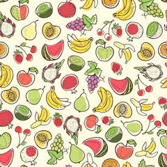 Creative seamless pattern with hand drawn fruits.