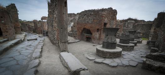 Antique bakery in Pompeii streets