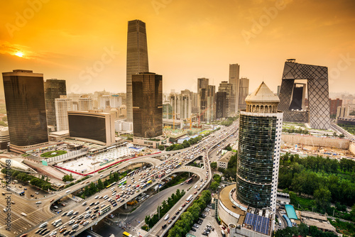 Staande foto Beijing Beijing, China Financial District Skyline