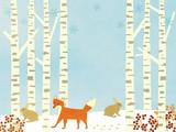 Winter Birch forest background – with animals
