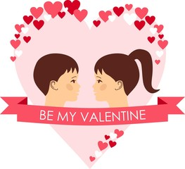 Vector illustration of a romantic people in love.