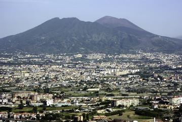 Naples aerial view , Vesuvius.