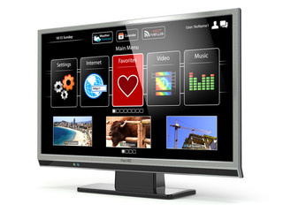 Smart TV flat screen lcd or plasma with web interface.Digital br