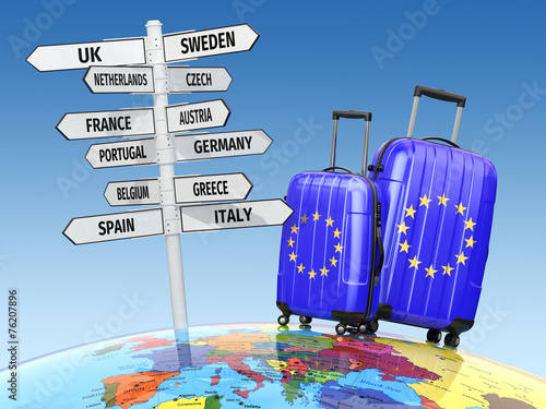 canvas print picture Travel concept. Suitcases and signpost what to visit in Europe.