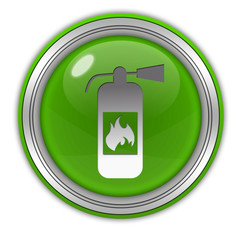 Fire extinguisher circular icon on white background