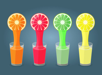 Colorful illustration of  citrus fruits and glasses full of juic