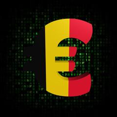 Euro symbol with Belgian flag on hex code illustration