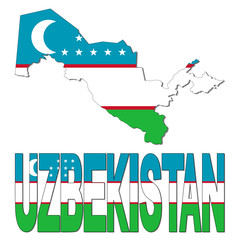 Uzbekistan map flag and text illustration