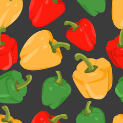 Seamless background with colorful peppers  in flat design