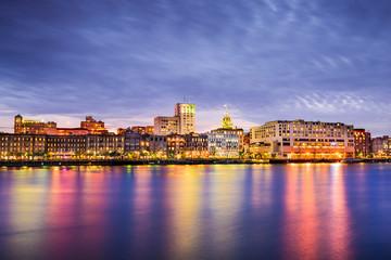 Savannah, Georgia, USA Riverfront Skyline