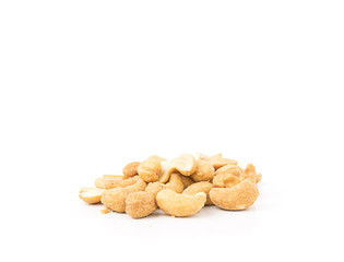 cashew with salt on white background