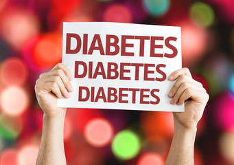 Diabetes card with colorful background with defocused lights