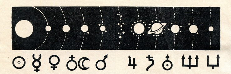 Solar system and signs (symbols) of sun and planets