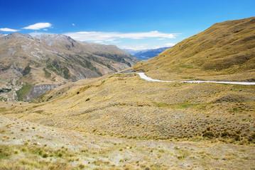 Road through the mountains, around Queenstown, NZ