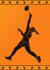 Detailed silhouette of vector female badminton player