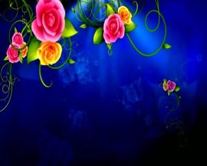 на  синем  розы