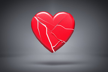 3D broken love heart background